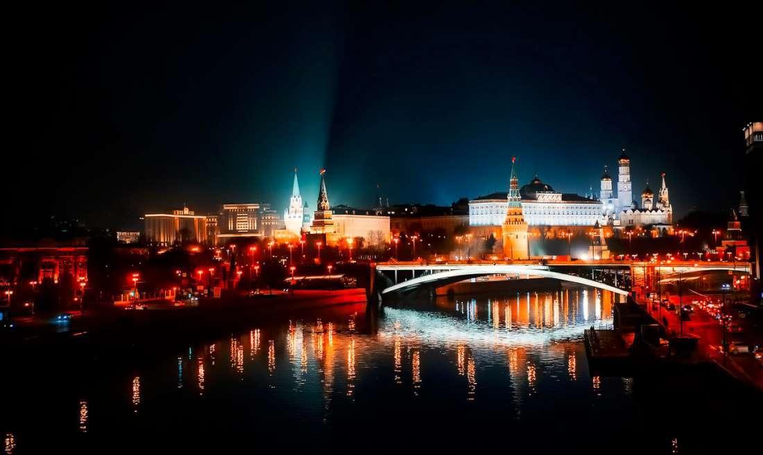 مشهد ليلي من مدينة موسكو